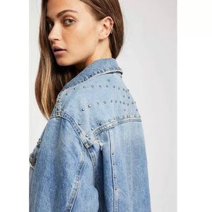 💗HP💗 Free people denim jacket with studs